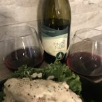 Sprucewood Shores 2015 Pinot Noir with Cheesy garlic butter mushroom stuffed chicken.
