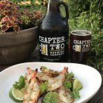 Chapter Two Brewing Company Mulligan American Amber Ale with Grilled Butterflied Shrimp.