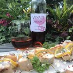 Vivace Estate Winery Brillante Rosé with Salmon Pops With Piquant Dill Sauce.