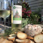 Sprucewood Shores Estate Winery 1867 Sacré Blanc with Smoked Trout Dip.