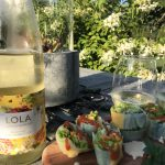 Pelee Island Winery 2017 LOLA Gewürztraminer with Spicy Spring Rolls.