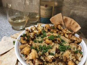 Alexander Estate Winery 2017 Gewurztraminer with Spicy Roasted Cauliflower Tahini Dip with Turmeric.